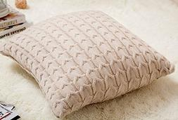 SALES! Cotton Knitted Decorative Cushion Cover Cable Pattern