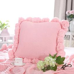 LIFEREVO Cotton Knitted Square Decorative Cushion Cover Swea