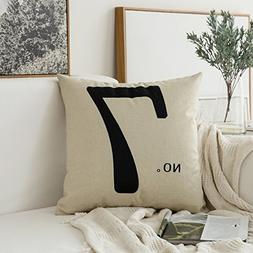 Miulee No.7 Cotton Linen Decorative Throw Pillow Case Cushio