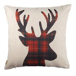 Fjfz Christmas Winter Deer, Scottish Buffalo Plaid Cotton Li