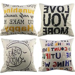 HOSL 4 Pack Cotton Linen Pillow Case Decorative Cushion Cove