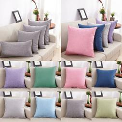 Cotton Linen Pillow Case Sofa Waist Throw Solid Cushion Cove