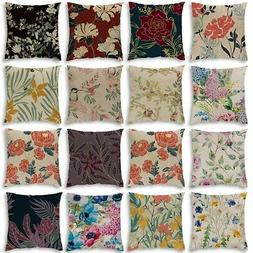 Cotton Linen Throw Pillow Case Cushion Cover Vintage Flower