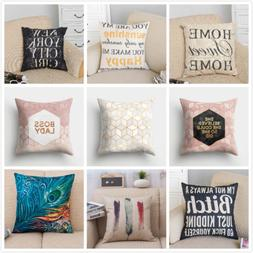 Cotton Linen Throw Pillow Case Sofa Waist Cushion Cover Squa