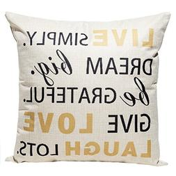 Happytimelol 18 x 18 Cotton Linen Throw Pillow Case Cover wi