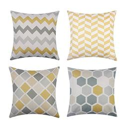 Heyjude 4 Pack Cotton Linen Throw Pillow Cases Sofa Pillow C