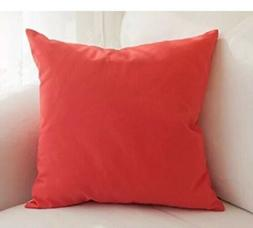 "TangDepot Cotton Solid Throw Pillow Cover 20"" x 20""  Orange"