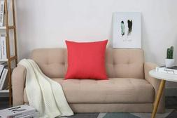 """TangDepot Cotton Solid Throw Pillow Cover, 24"""" x 24"""" , Coral"""