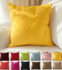 "TangDepot Cotton Solid Throw Pillow Covers, 18"" x , Yellow"