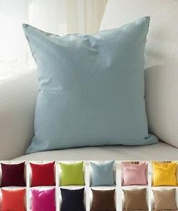 TangDepot Cotton Solid Throw Pillow Covers, 22 x 22 , Light