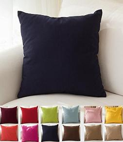 "TangDepot Cotton Solid Throw Pillow Covers, 16"" x 16"" , Dark"