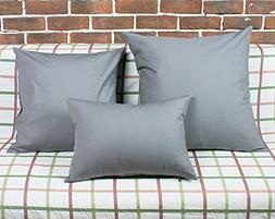 "TangDepot Cotton Solid Throw Pillow Covers, 12"" x 20"" , Gray"