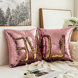 MIULEE Pack of 2, Sequin Pillow Case Reversible Cushion Cove