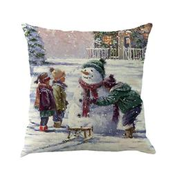 cover christmas snowmen pillow case sofa throw