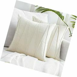 Top Finel Cream Decorative Throw Pillow Covers 18 x 18 Inch