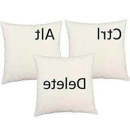 RoomCraft Set of 3 Ctrl Alt Delete Throw Pillow Covers 14x14
