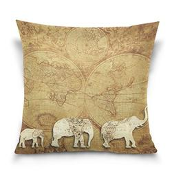 ALAZA Cushion Cover Shabby Elephant Travel World Map Square