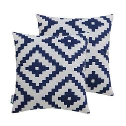 HWY 50 Navy Blue Couch Throw Pillows Covers 18 x 18 inch, Se