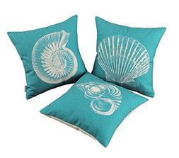 Set of 3 CaliTime Canvas Throw Pillow Covers Cases for Couch