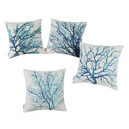 CaliTime Cushion Covers Throw Pillows Cases Coral Tree Aquar