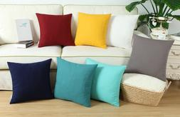 CaliTime  Cushions Throw Pillows Covers Solid Cotton Canvas