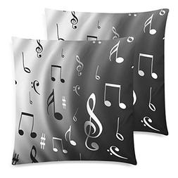 InterestPrint Custom 2 Pack White and Black Music Note 18x18