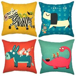YOUR SMILE Cute Cartoon Animal Imitated Silk Fabric Decorati