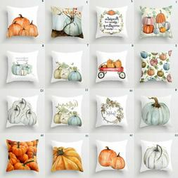 Cute Fall Halloween Pumpkin Pillow Case Waist Throw Cushion