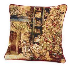DaDa Bedding Elegant Golden Christmas Festive Throw Pillow C