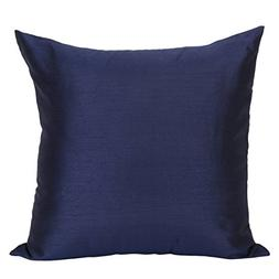 The White Petals Set of 2 Dark Blue Art Silk Pillow Covers,