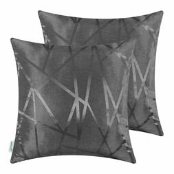 Dark Gray Throw Pillow Covers - Modern Contrast Abstract, 18