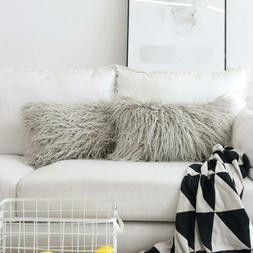 HOME BRILLIANT Decor Fur Oblong Fuzzy Throw Pillow Cover 12x
