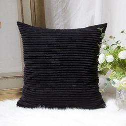 HOME BRILLIANT Decor Striped Corduroy Velvet Square Cushion