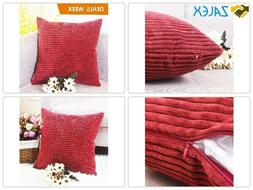 HOME BRILLIANT Winter Decorations Super Soft Striped Corduro