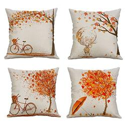 MIULEE Pack of 4 Decorative Autumn Fall Style Throw Pillow C