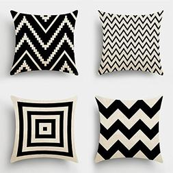 MIULEE Pack of 4 Decorative Black Wave Outdoor Pillow Cover