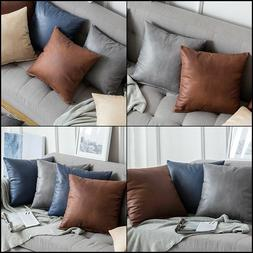 MIULEE Pack of 2 Decorative Faux Leather Modern Pillow Cover