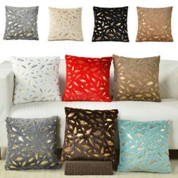 Decorative Gold Leaves Throw Pillow Case Sofa Cushion Covers