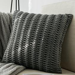 Decorative gray Throw Pillow Cover 18x18 Elastic Embroidery