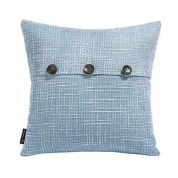 Phantoscope Decorative Light Blue Button Throw Pillow Case,