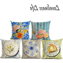 Decorative Linen Cushion Cover in Chinaware <font><b>Home</b