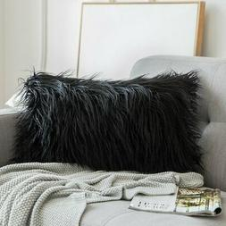 MIULEE Decorative New Luxury Series Style Black Faux Fur Thr