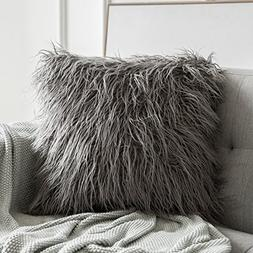 MIULEE Decorative New Luxury Series Style Grey Faux Fur Thro