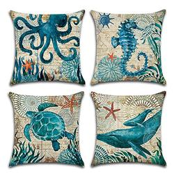MIULEE Pack of 4 Decorative Ocean Park Theme Outdoor Pillow