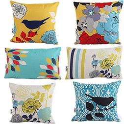 HOSL Decorative Pillow Cover Case Pack of 6 (Bird And Flow