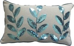 Decorative Colored Sequins Leaves Floral Throw Pillow COVER