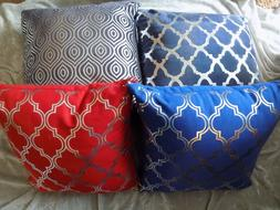 Decorative Silver Patterned Throw Pillows