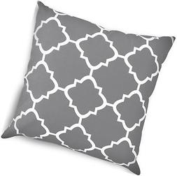 Decorative Square 18 x 18 Inch Throw Pillows Grey Moroccan Q