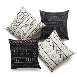 Hofdeco African Mudcloth Pillow Cover ONLY, Black Light Crea