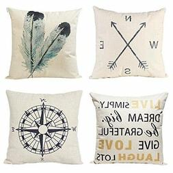 Anickal Decorative Throw Pillow Covers Set of 4 Cotton Linen